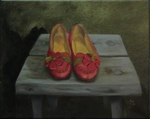 Taustan vihreydellä on haettu kenkien punaisuudelle voimaa.